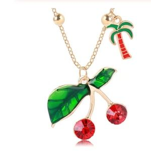 Red Cherry Blossom Leaf Palm Tree Pendant Necklace